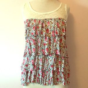 Tops - Floral & Lace tank NWOT